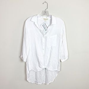 Anthropologie | 3/4 sleeve knot front top small